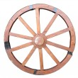 Antique Cart Wheel made of wood and iron-lined isolated — Stock Photo