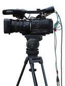 TV Professional studio digital video camera isolated on white — Stok fotoğraf