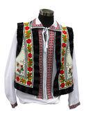 Beautifull balkanic national costume clothes isolated over white — Stock Photo