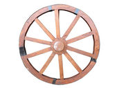 Antique Cart Wheel made of wood and iron-lined isolated — Foto Stock