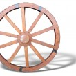 Antique Cart Wheel made of wood and iron-lined with shadow isola — Stock Photo #36074543