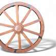 Antique Cart Wheel made of wood and iron-lined with shadow isola — Stock Photo