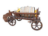 Vintage wooden cart with wine barrel, basket and pumpkin isolate — Foto Stock