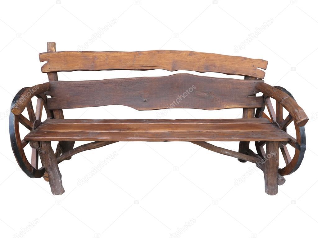 Banco de jardim artesanal de madeira com decoração de roda de  #8C5C3F 1024x768