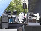 Powerfull concerto audio speakers ,amplifiers ,spotlights, stage — Stock Photo