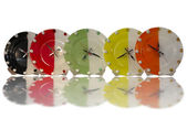 Colorful stylish food concept wall clocks isolated over white — ストック写真