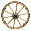 Antique Cart Wheel made of wood and iron-lined isolated — Stock Photo #46583067