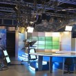 Television studio equipment, spotlight truss and professional ca — Stock Photo