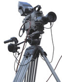 TV Professional studio digital video camera on tripod isolated o — Foto de Stock