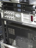 Old powerful stage concerto audio amplifiers — Stock Photo