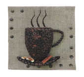 Abstract coffee beans mug concept over burlap canvas background  — Foto de Stock
