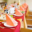 Fine restaurant dinner table place setting — Stock Photo