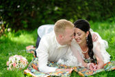 Bride and groom having a romantic moment on their wedding — Stock Photo