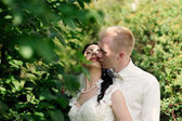 Bride and groom having a romantic moment on their wedding — Стоковое фото