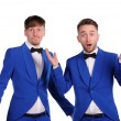 Funny men dressed in blue suite with different emotions — Stock Photo #35590649