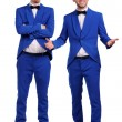 Funny men dressed in blue suite with different emotions — Stock Photo #35590653