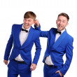 Funny men  dressed in blue suite with different emotions — Stockfoto
