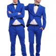 Funny men dressed in blue suite with different emotions — Stock Photo