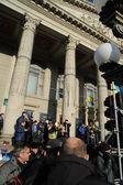 Ternopil, Ucraina 1 dicembre: Protesta il Euromaydan a Ternopil contro il Presidente Yanukovich e il suo governo su 1° dicembre 2013 a Ternopil, Ucraina — Foto Stock