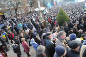 Ternopil, UKRAINE DECEMBER 1: Protest on Euromaydan in Ternopil against the president Yanukovych and his government on DECEMBER 1, 2013 in Ternopil, Ukraine — Stock fotografie