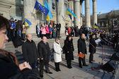 Tarnopol, Ukraina 1 grudnia: Protest na Euromaydan w Tarnopolu przeciwko prezydent Janukowycz i jego rządu na 1 grudnia 2013 w Tarnopol, Ukraina — Zdjęcie stockowe