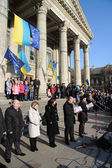 Ternopil, UKRAINE DECEMBER 1: Protest on Euromaydan in Ternopil against the president Yanukovych and his government on DECEMBER 1, 2013 in Ternopil, Ukraine — Stock Photo