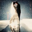 Bride and groom kissing under rain in the night — Stock Photo #37497073