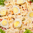 Fresh salad with chicken breast, cheese and eggs — Stock Photo