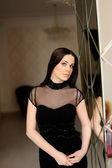 Portrait of Beautiful Woman black  Dress — Stock Photo
