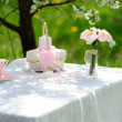Bouquet of roses and  cup on the table in the garden — Stock Photo #46131713