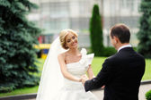 Noiva e noivo no seu casamento — Foto Stock