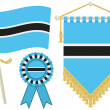 Botswana flags - Stock Vector