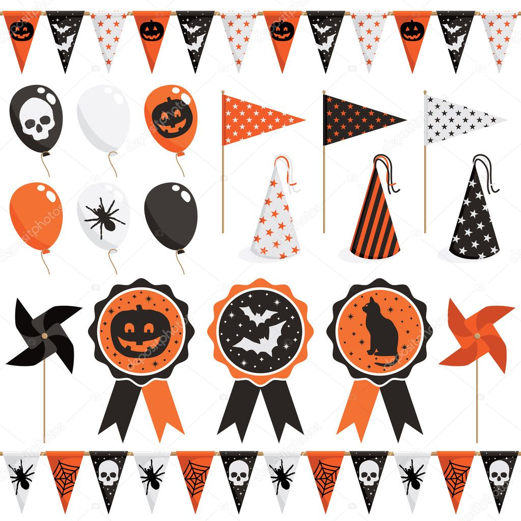 Halloween party pack stock vector mattasbestos 12300881 for Decoracion para halloween
