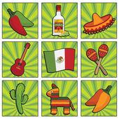 ícones mexicanos — Vetorial Stock