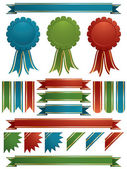Red green and blue ribbons — Stock Vector