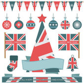 Uk christmas items — Stock Vector