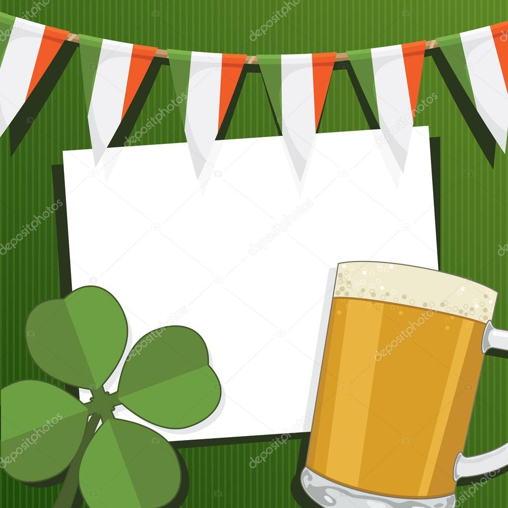 Irish party card with four leafed clover, beer and bunting, with clipping mask  Stock Vector #18902935