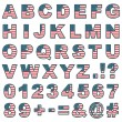 Stitched usa alphabet - Stock Vector