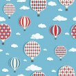 Hot air balloons pattern — 图库矢量图片