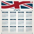 Uk calendar 2013 - Stock Vector