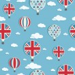 Wektor stockowy : Uk hot air balloons pattern