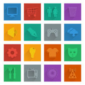 Square media icons set 2 — Stock Vector