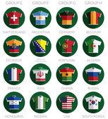 Soccer flag shirt icons — Vector de stock