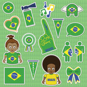 Brazil supporter stickers — Stock Vector