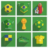 Brasilien fotboll ikoner — Stockvektor