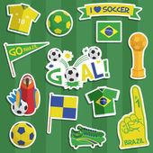 Brazil football stickers — Stock Vector
