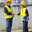 Two Dockers shaking hands — Stock Photo