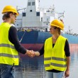 Stock Photo: Docker handshake