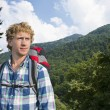 Stock Photo: Hiker in the woods