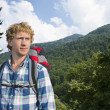 Stock Photo: Hiker in woods